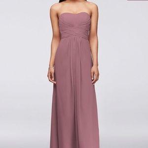 Quartz David's Bridal Long Strapless Chiffon Dress